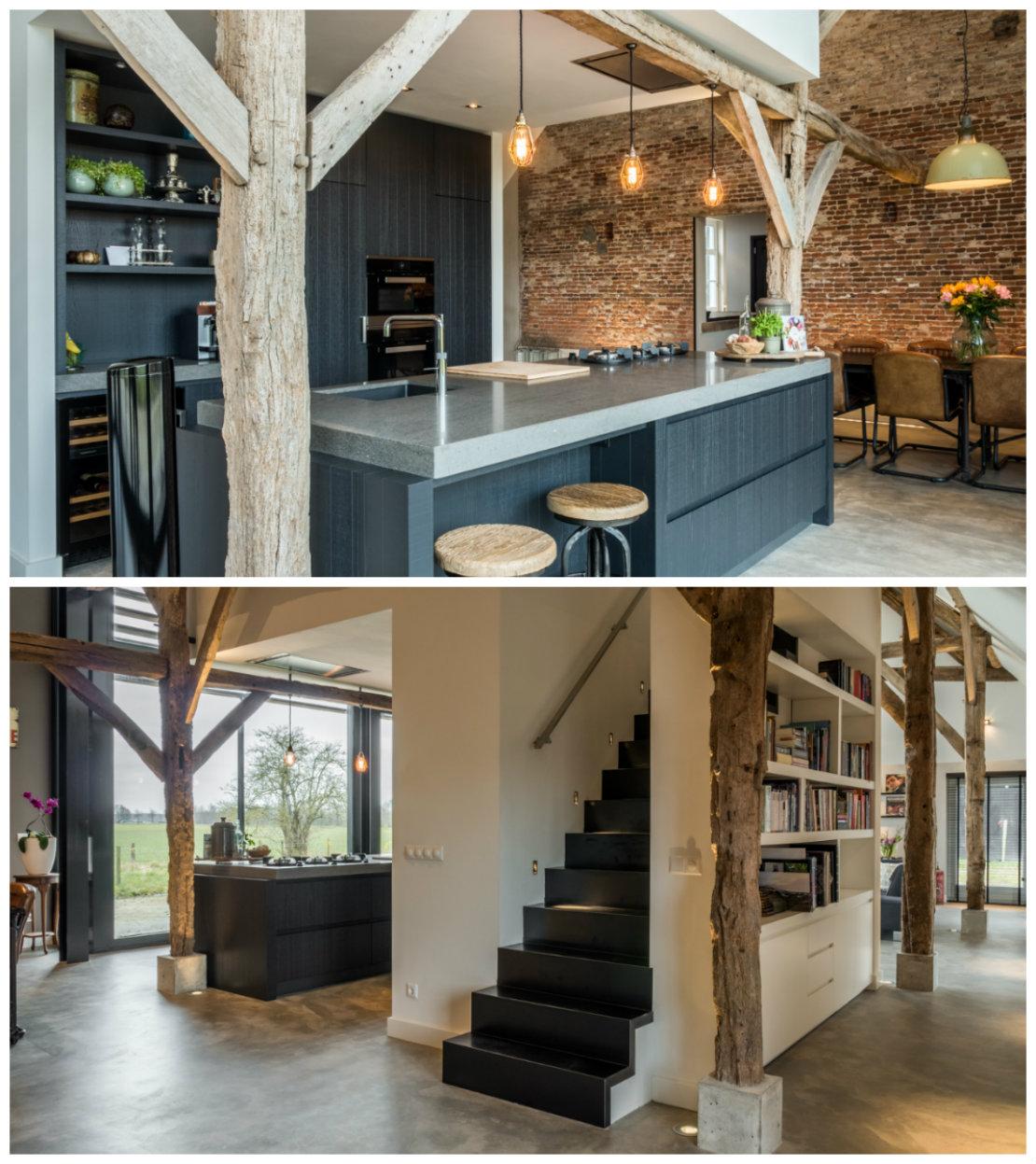 casa renovada cocina y escalera