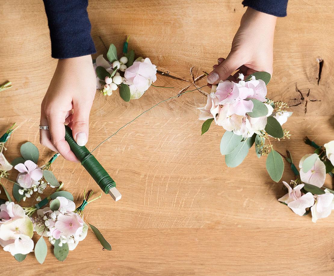 Proceso corona de flores DIY