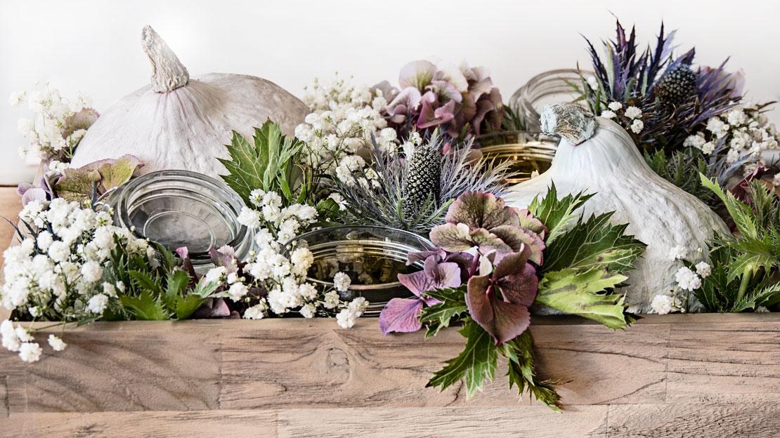 centro de mesa de otoño con flores