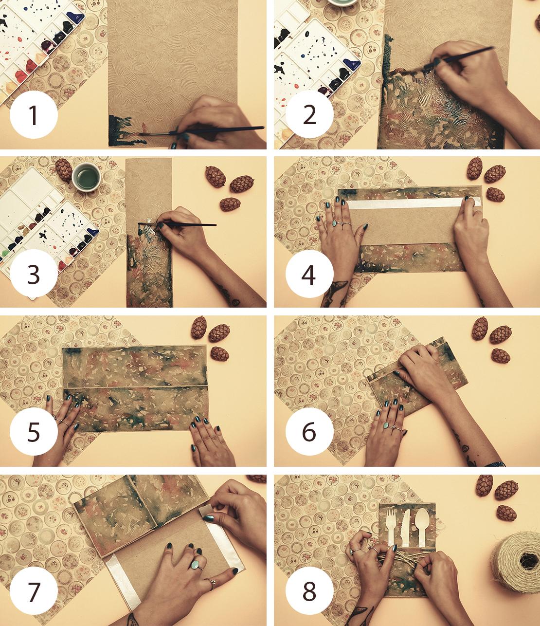 Proceso para hacer un original sobre para cubiertos