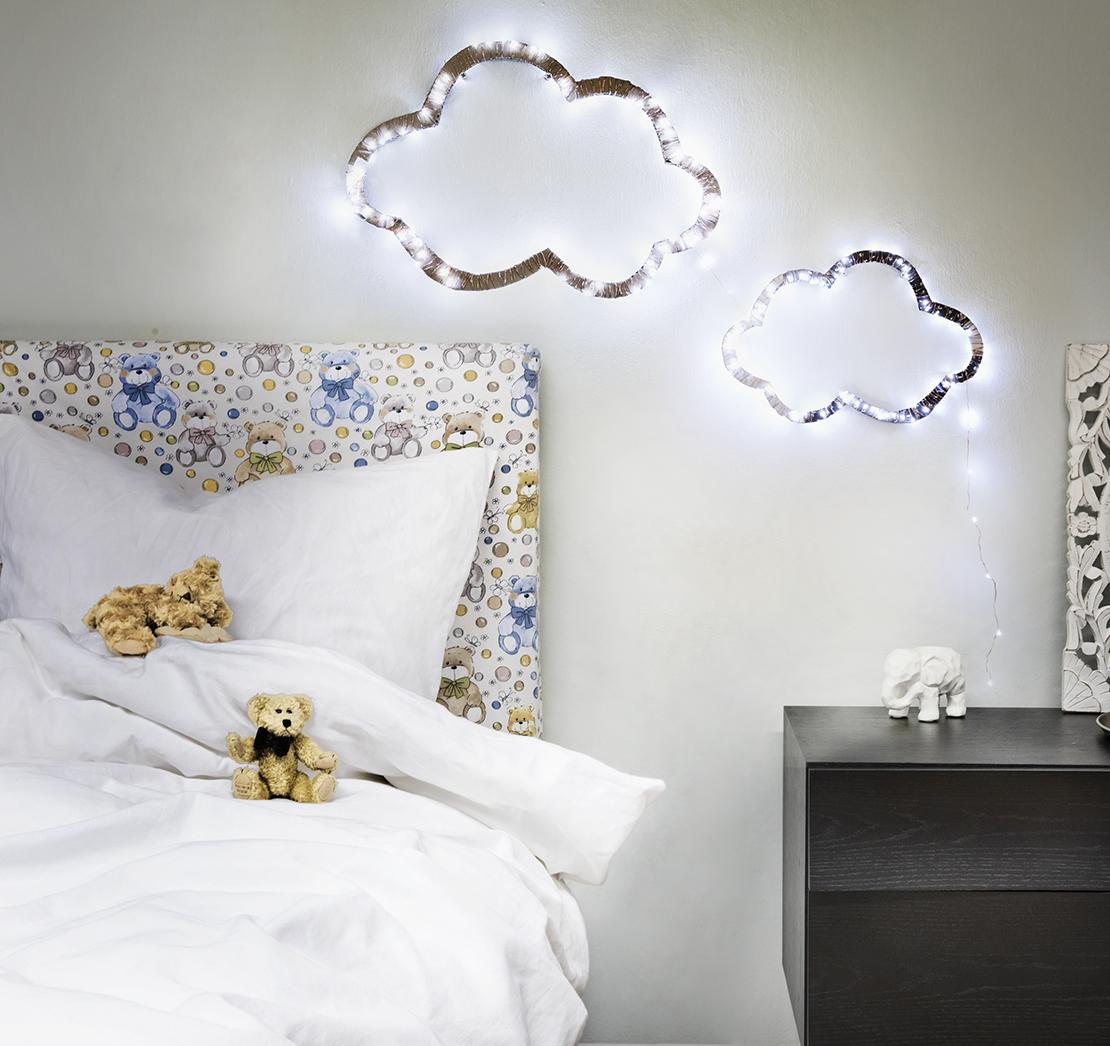 Ideas para reutilizar las luces de Navidad cuarto infantil
