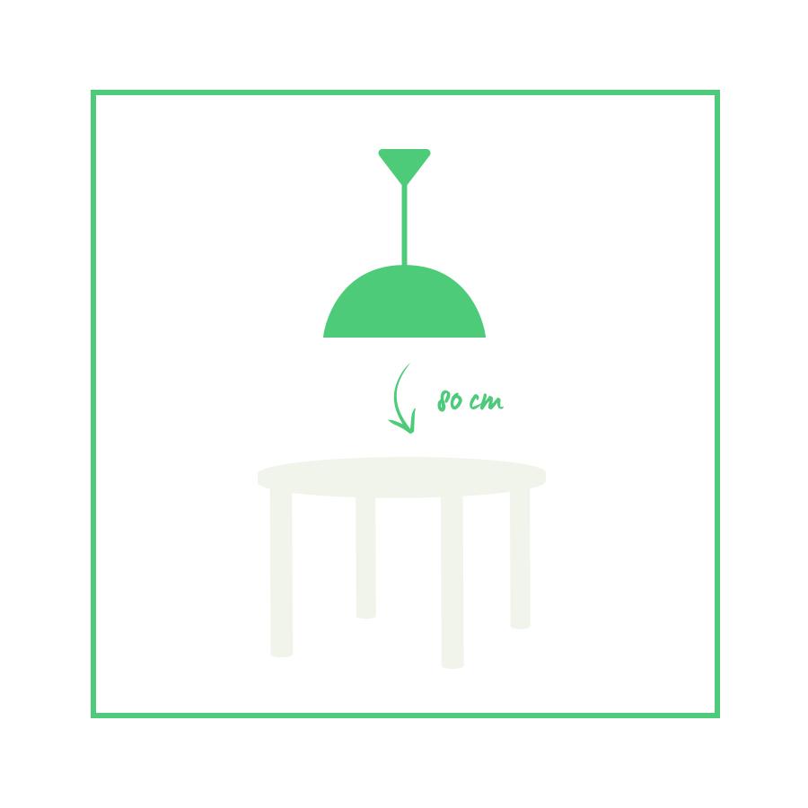 distancia adecuada entre mesa y lámpara
