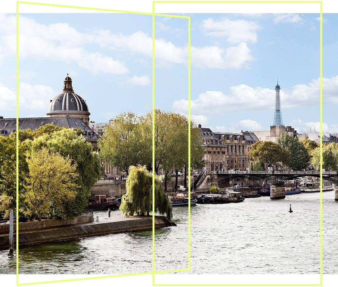 Vistas al río Sena en París