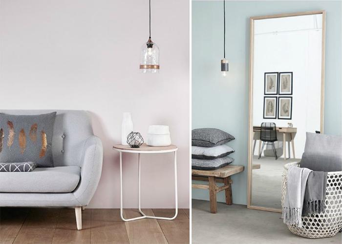 mur gris et mur bleu gris avec miroir