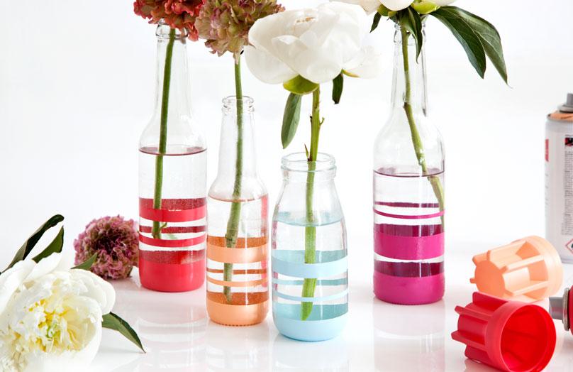 DIY Vases rayés et colorés