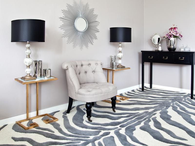 Décoration glamour: tapis de zèbre