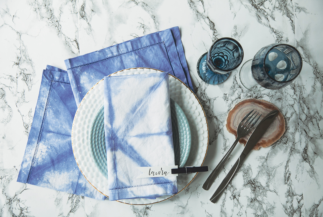 serviettes de table shibori deco DIY