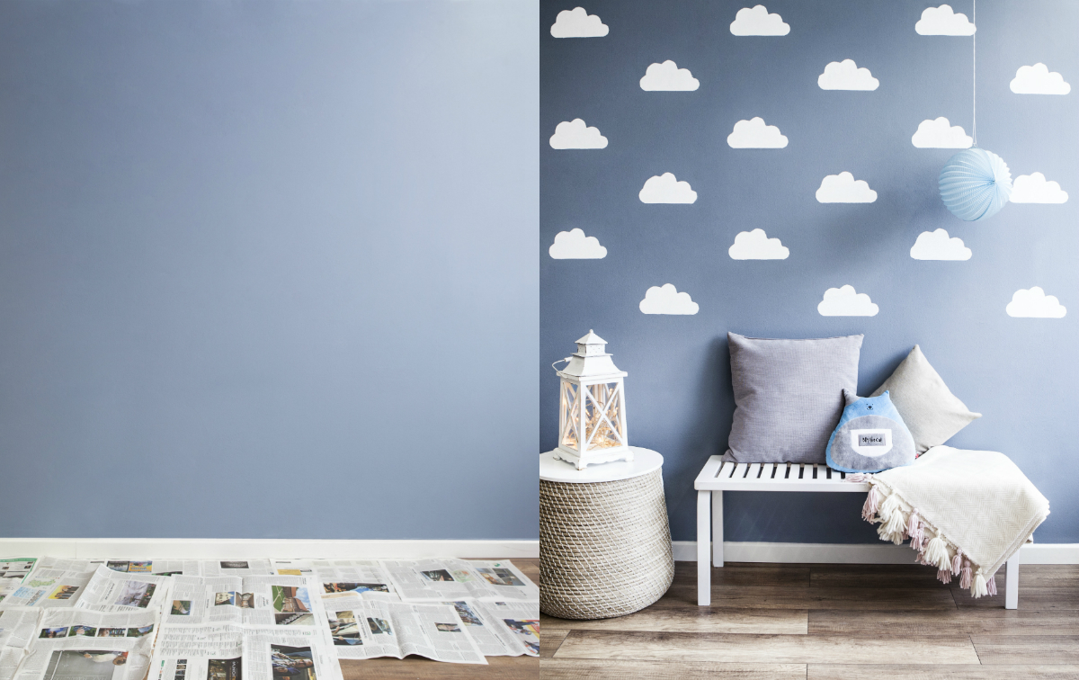 id e d co chambre d 39 enfant un mur charg de nuages. Black Bedroom Furniture Sets. Home Design Ideas