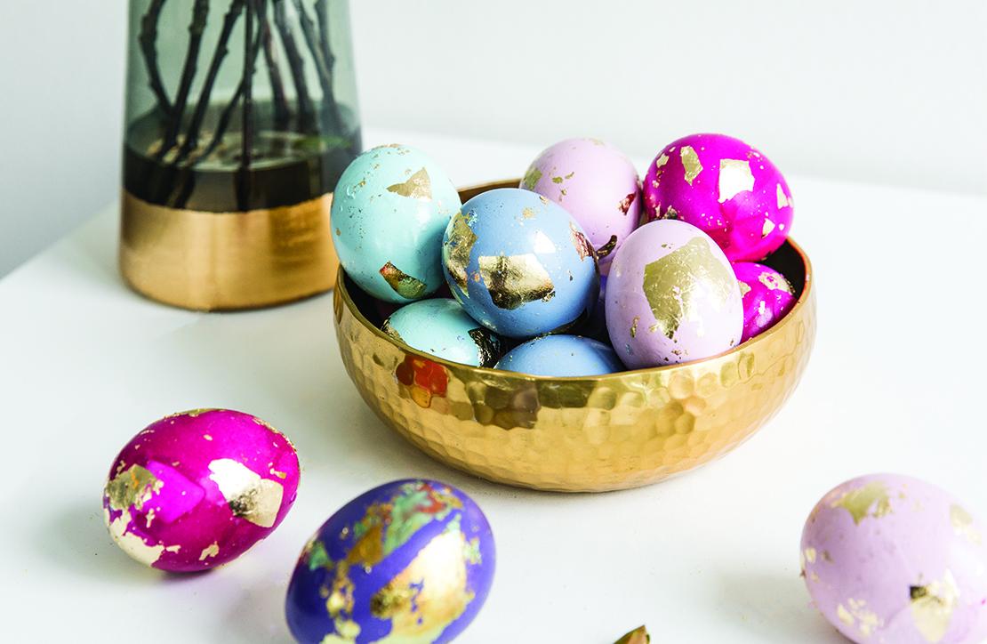 œufs de Pâques déco peinture doré DIY