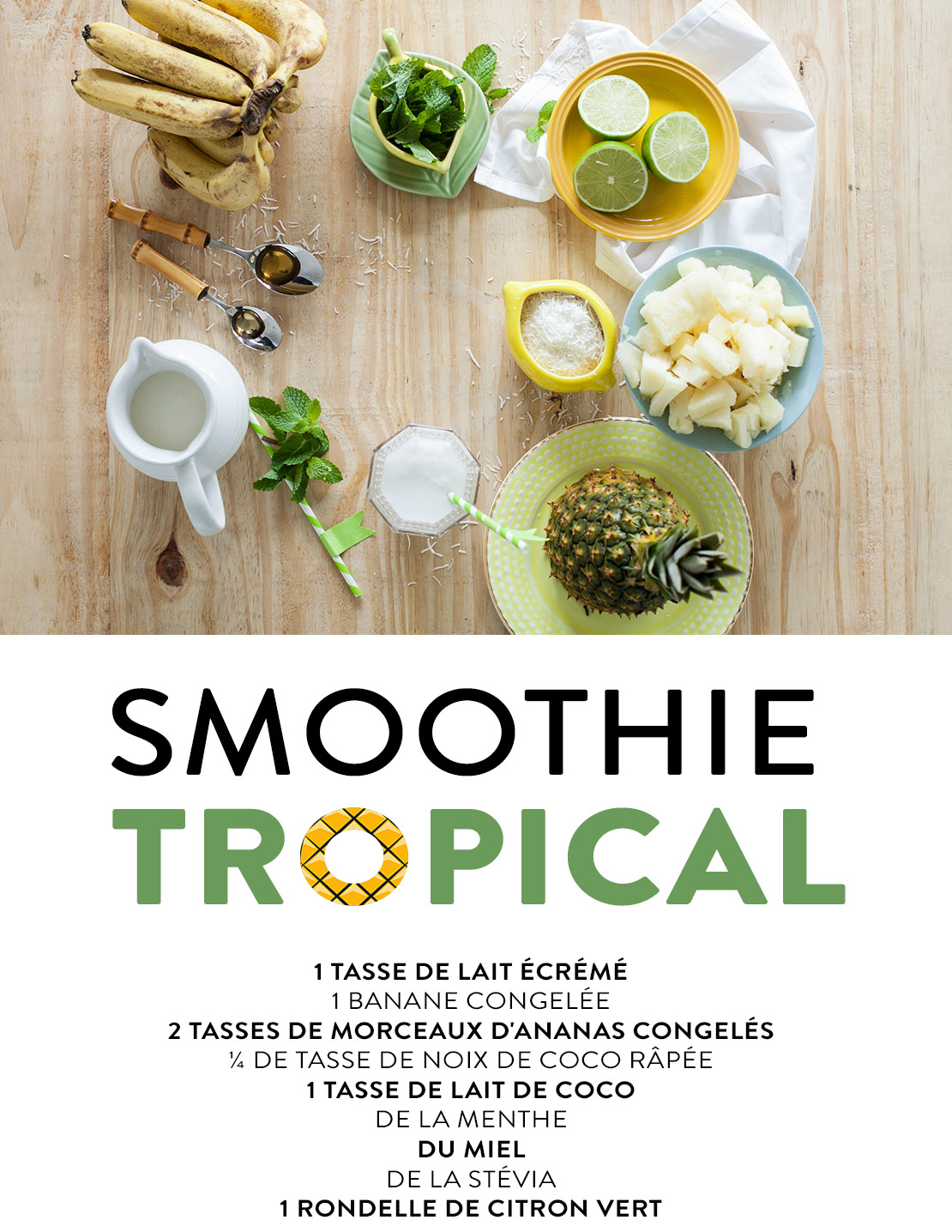 smoothie tropical recette fruits