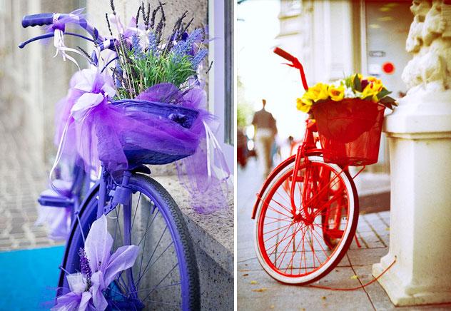 biciclette rosse e viola