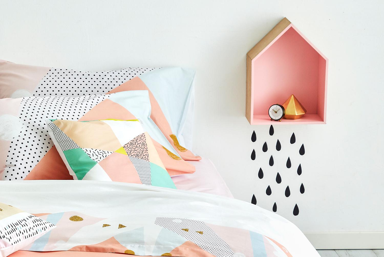 Geometrico, Trend, Letto, Vintage, Decorazioni, Stile