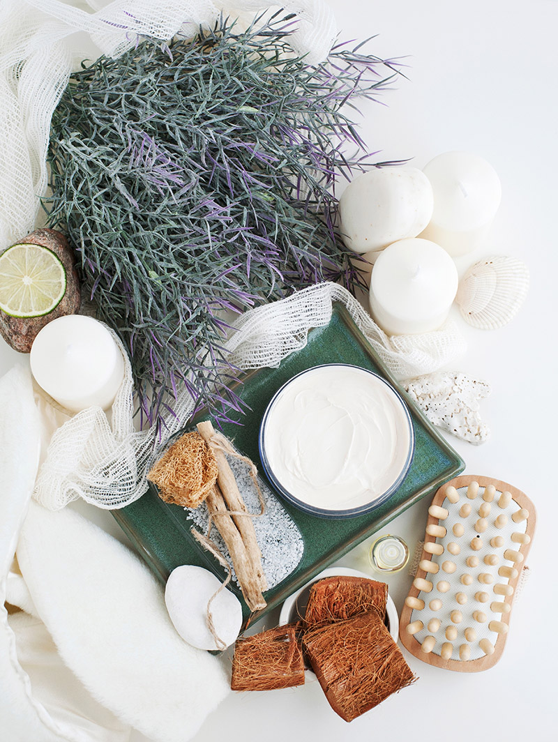 Beauty products, lavender and candles