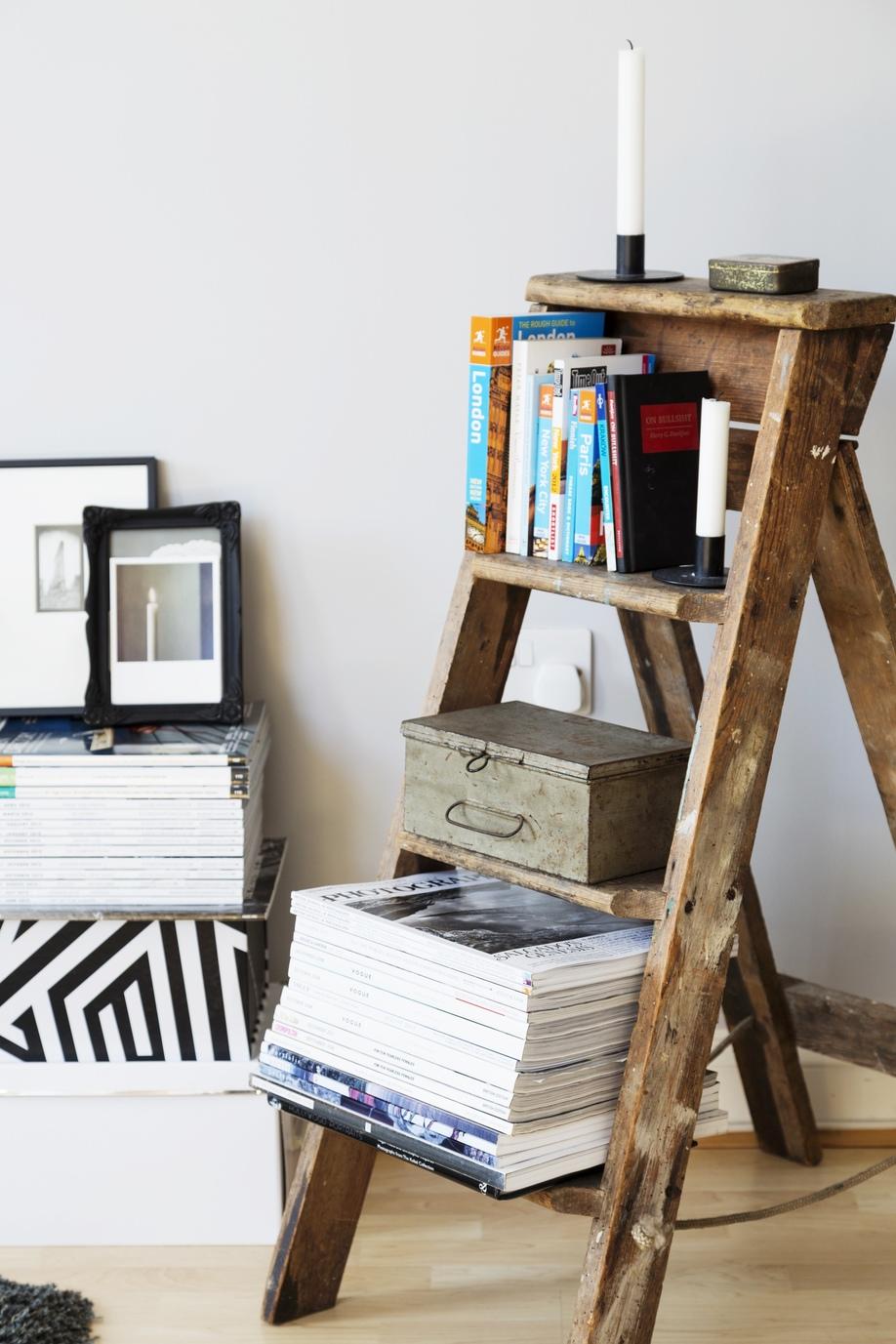 boekenstandaard hout trapladdertje