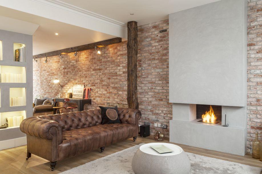 gelhaard ingebouwd in modern en vintage woonkamer