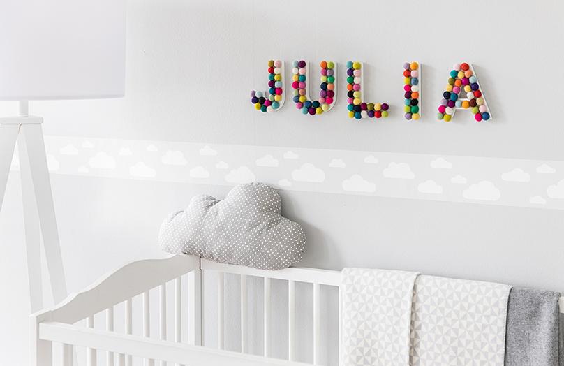 Kinderkamer deco idee: Baby initialen