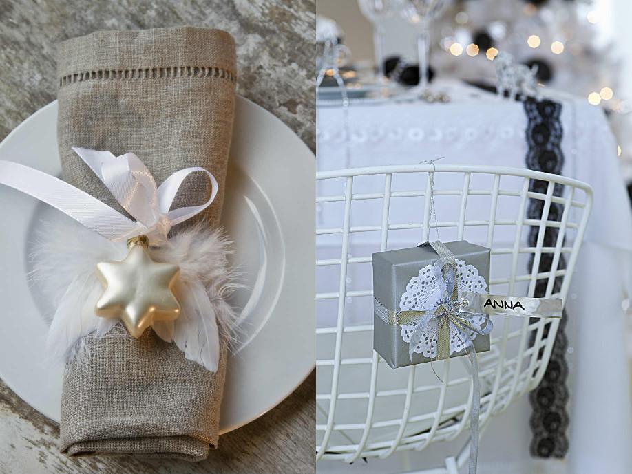 collage 1 - świąteczny stół - dekoracje serwetek i dekoracje oparć krzeseł