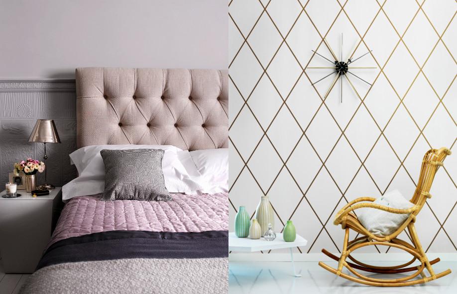 złoto - dwa przykłady zastosowania, sypialnia, tapeta