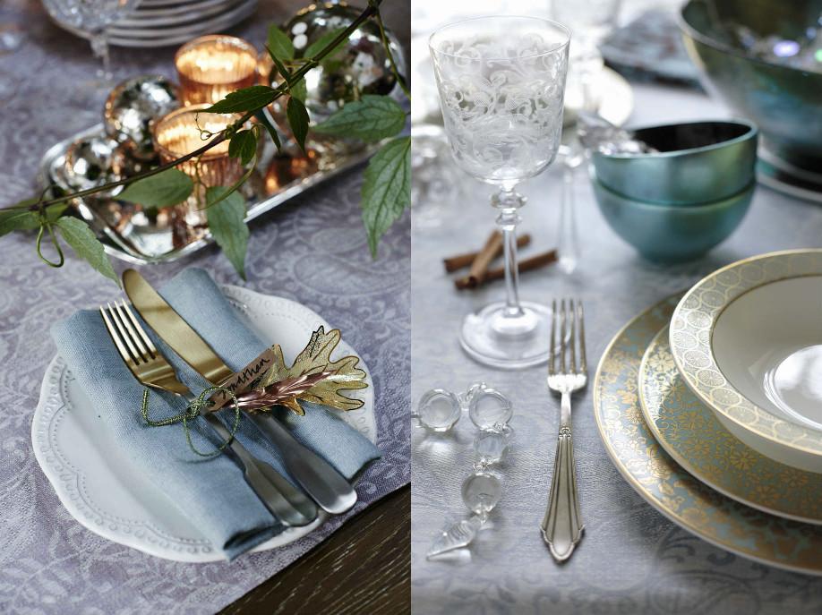 collage 2 - świąteczny stół - dekoracje stołu, talerze zdobione złotem