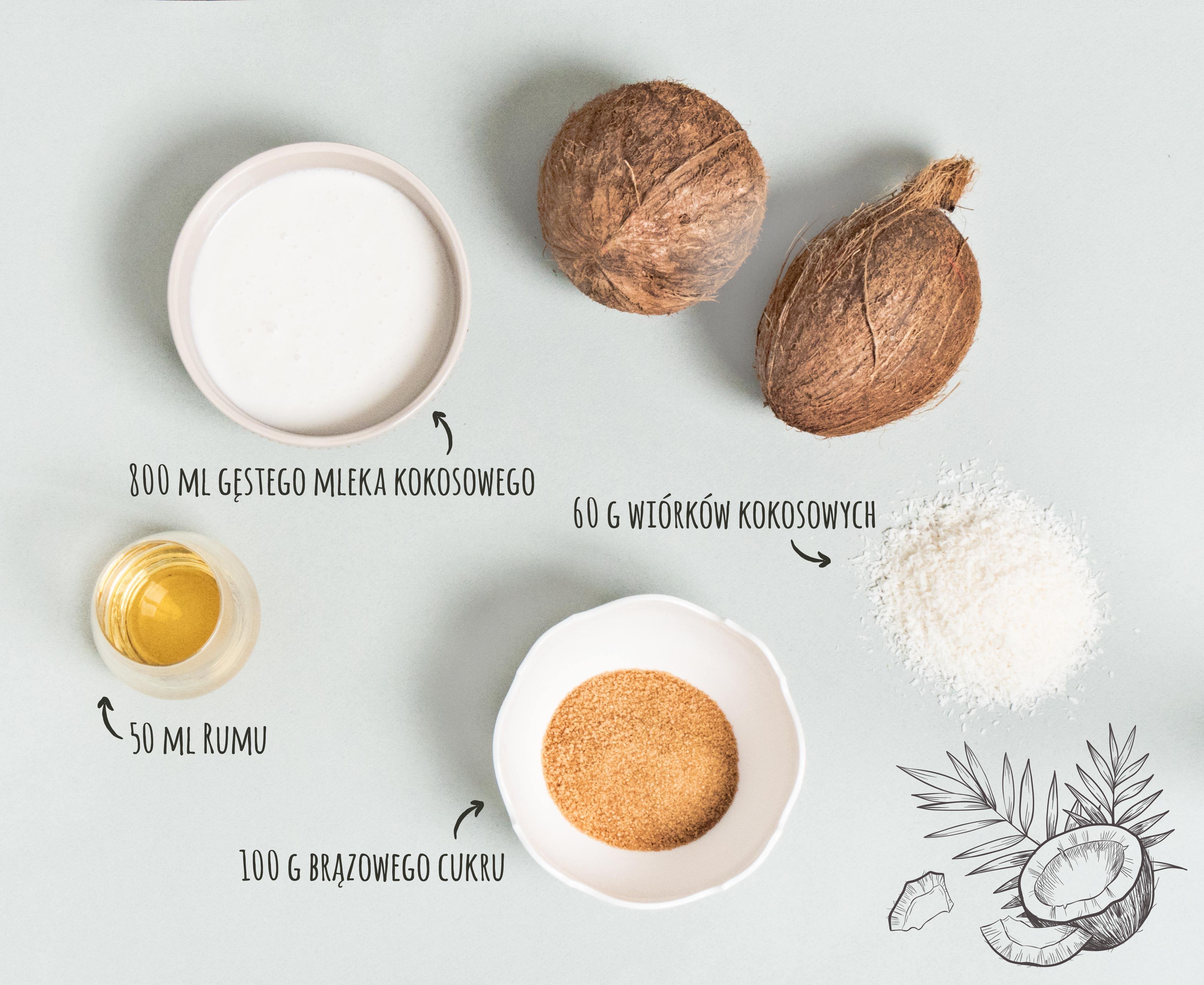 Przepis na lody kokosowo-rumowe