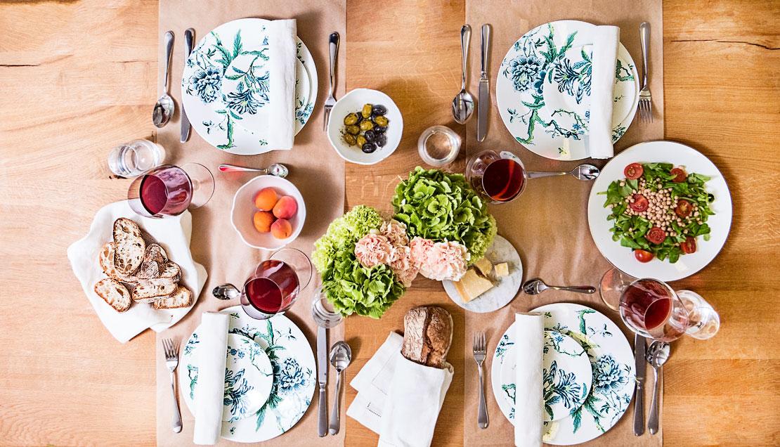 letnie nakrycie stołu na obiad