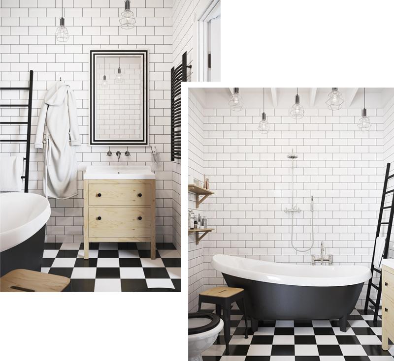 skandynawskie wnętrza łazienka