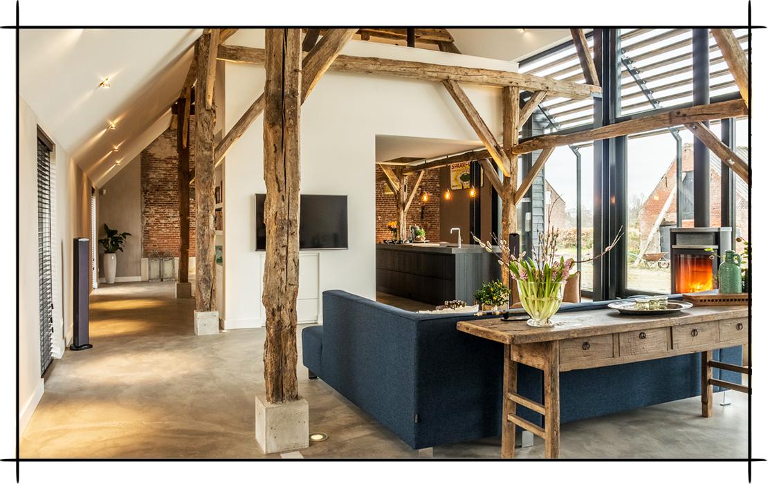 industrialny salon z kuchnią