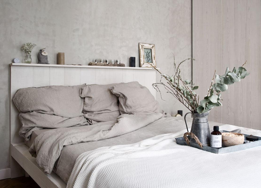 szara aranżacja sypialni