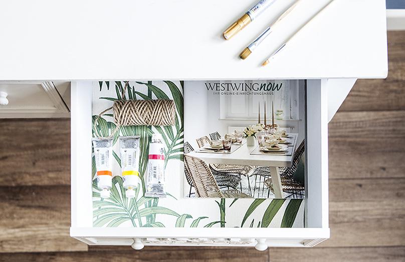 DIY: Jak ozdobić szufladę tapetą