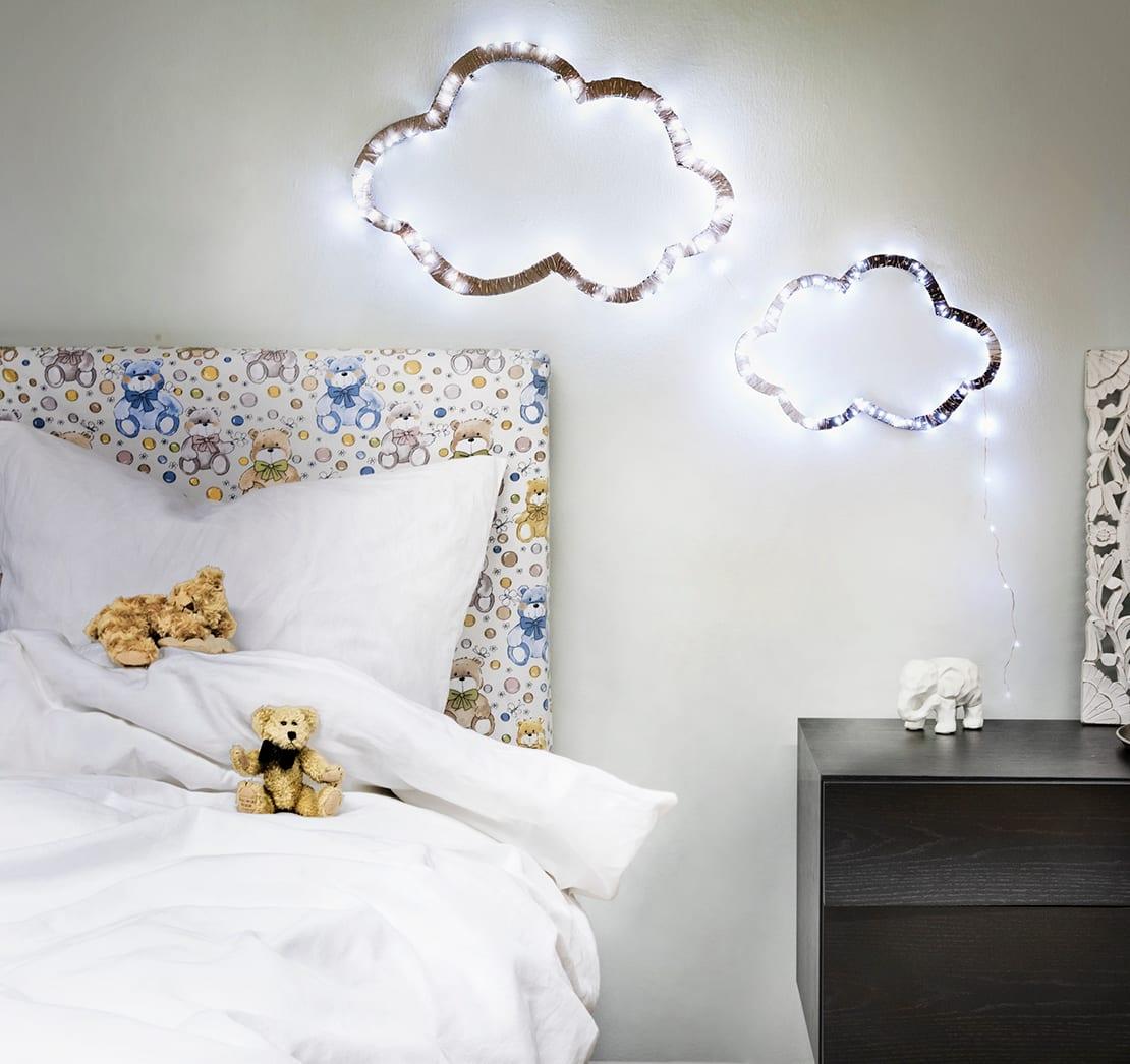 dekoracja z lampek choinkowych do pokoju dziecięcego