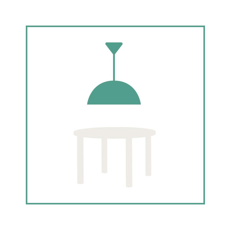 okrągła lampa do jadalni