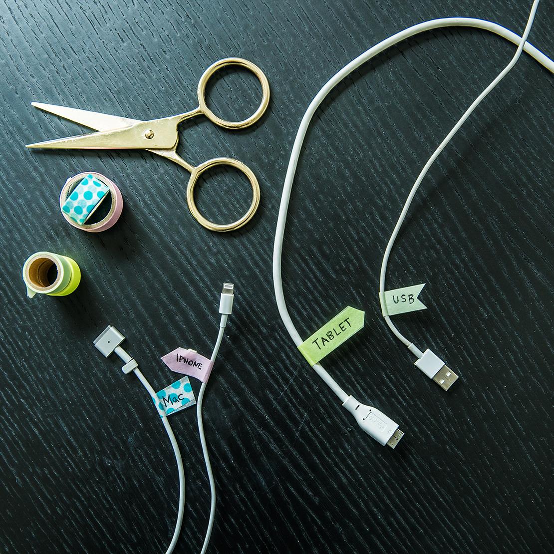 jak oznaczyć kable: taśma washi
